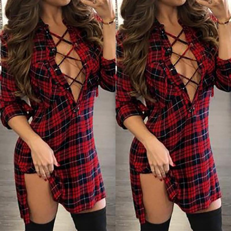 Fashion Plaids Lace Up Sexy V Neck Split Casual Dress