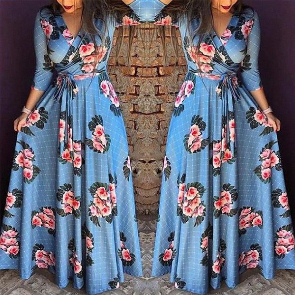 V Neck Belt Long Sleeve Floral Printed Maxi Dress