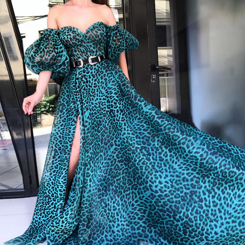 Sexy Off Shoulder Puff Sleeve Leopard Printed Maxi Dress