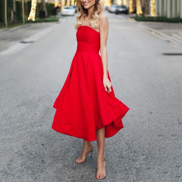 Sexy Red Sleeveless Skater Dress Maxi Dress Evening Dress