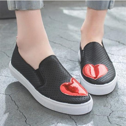 Hollow Out Flat Round Toe Casual Sneakers