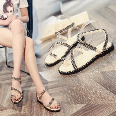 Rhinestone Open Toe Beach Shoes