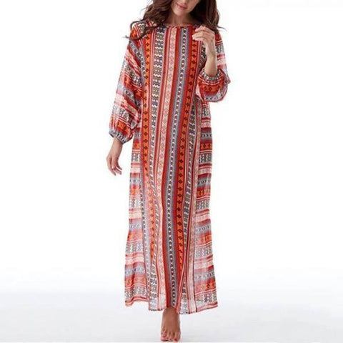 Casual Loose Round Collar Printing Maxi Shift Dress