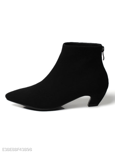 Plain Chunky Low Heeled Velvet Point Toe Date Office Ankle Boots