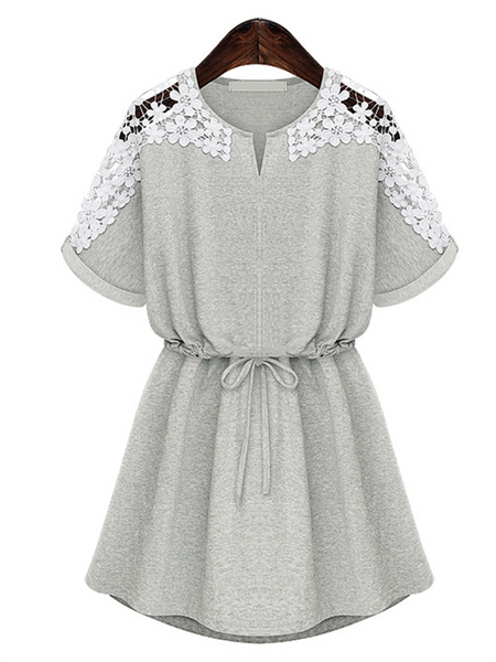 Crew Neck Cutout Decorative Lace Drawstring See-Through Crochet Lace Shift Dresses