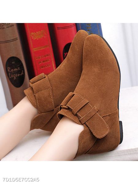 Plain Low Heeled Velvet Round Toe Casual Date Ankle Boots