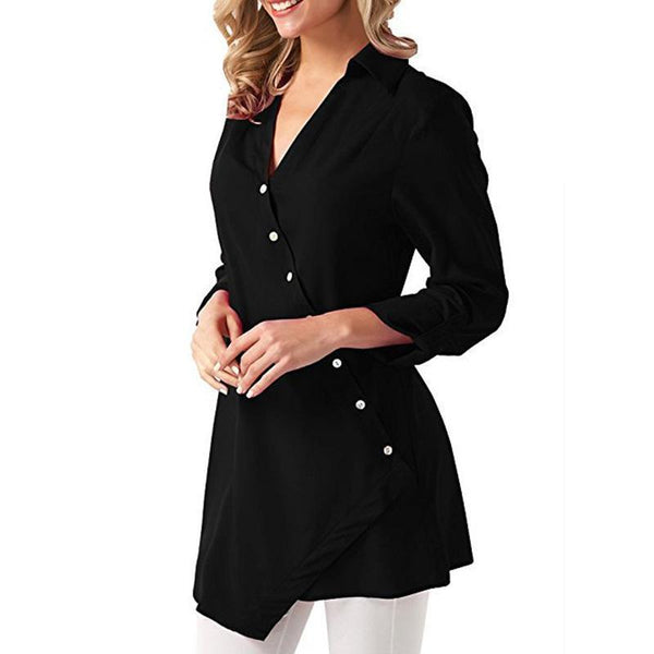 V Neck Lapel Button Asymmetrical Chiffon Blouses