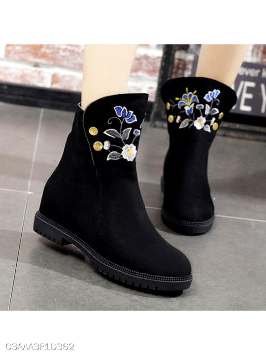 Embroidery Floral Plain Flat Velvet Round Toe Casual Date Flat Boots