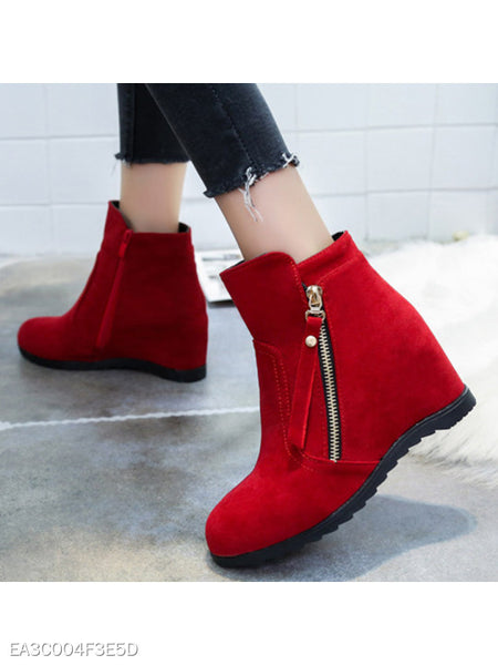 Plain Invisible High Heeled Velvet Round Toe Casual Date Ankle Boots