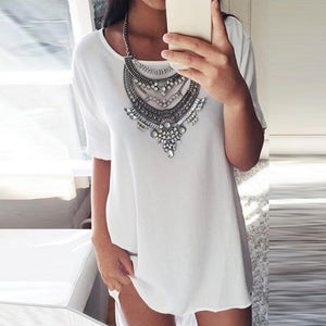 Round Neck  Plain  Short Sleeve Casual Dresses