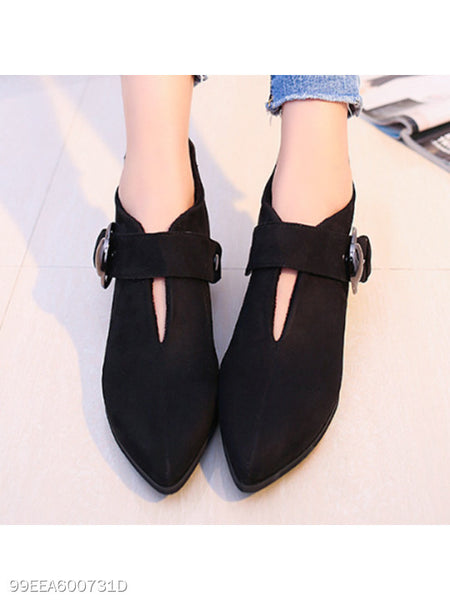 Plain Low Heeled Velvet Point Toe Date Ankle Boots