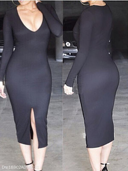 Sexy V-Neck Slit Bodycon Dress