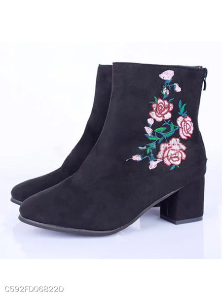 Embroidery Plain Chunky High Heeled Suede Round Toe Date Office High Heels Boots