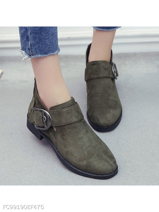 Plain Chunky Low Heeled Velvet Round Toe Date Office Ankle Boots