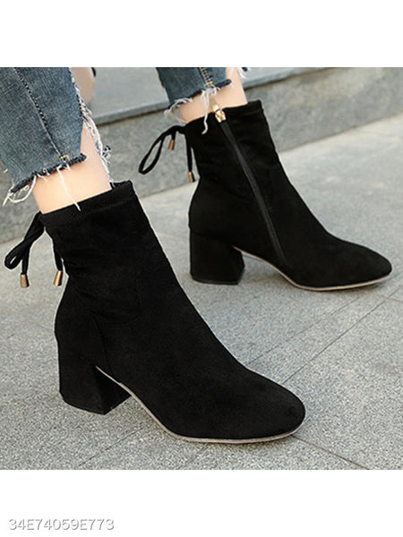 Plain Chunky High Heeled Velvet Round Toe Date Office High Heels Boots