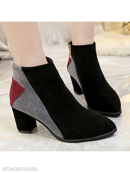 Color Block Chunky High Heeled Velvet Point Toe Date Office High Heels Boots