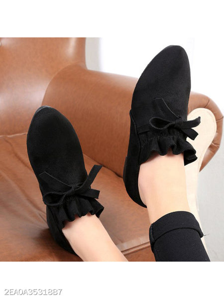 Plain Flat Velvet Round Toe Casual Date Ankle Boots