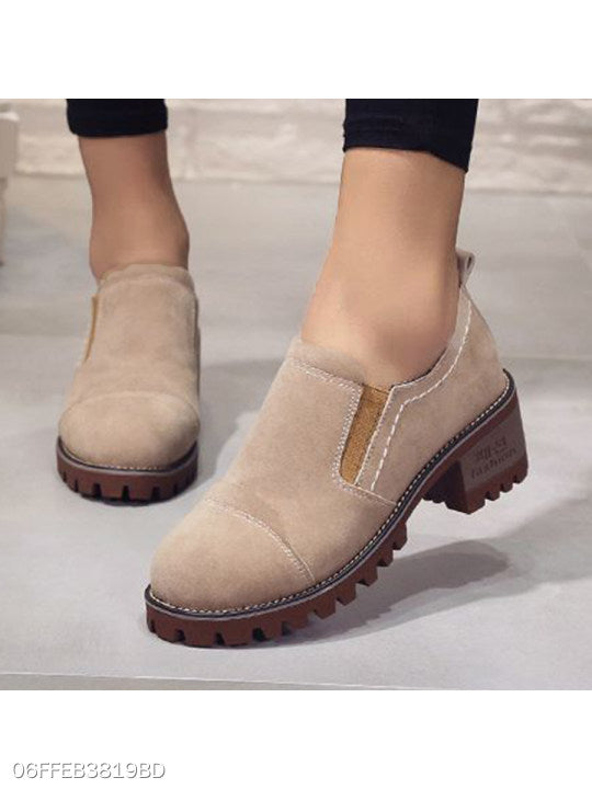 Plain Chunky Mid Heeled Velvet Round Toe Casual Date High Heels Boots