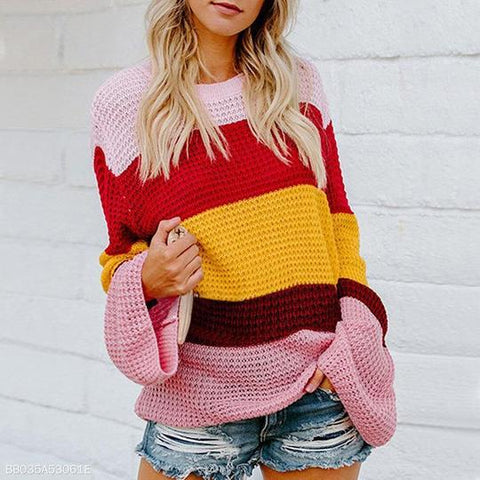 Color Loosely Knitted Trumpet Sleeves Sweater