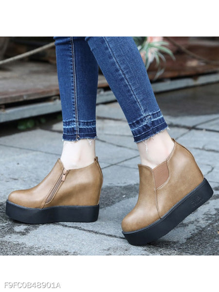 Plain Mid Heeled Round Toe Casual Date Ankle Boots