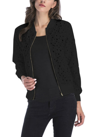 Band Collar Cutout Plain Jackets
