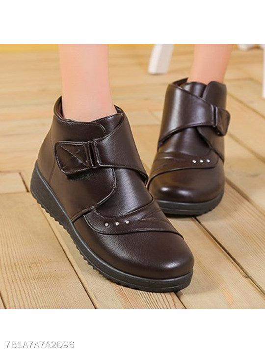 Plain Low Heeled Round Toe Casual Ankle Boots