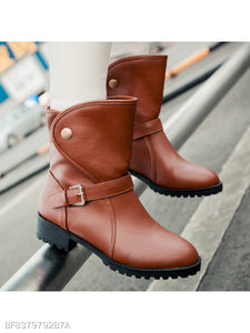 Plain Chunky Low Heeled Round Toe Casual Date Flat Boots