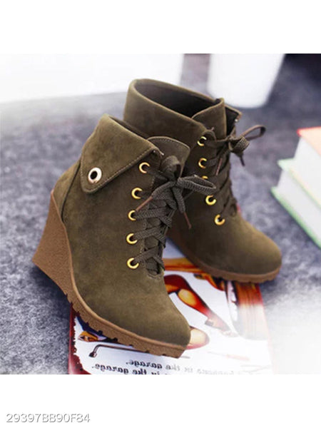 Plain High Heeled Velvet Criss Cross Round Toe Casual Date Ankle Boots