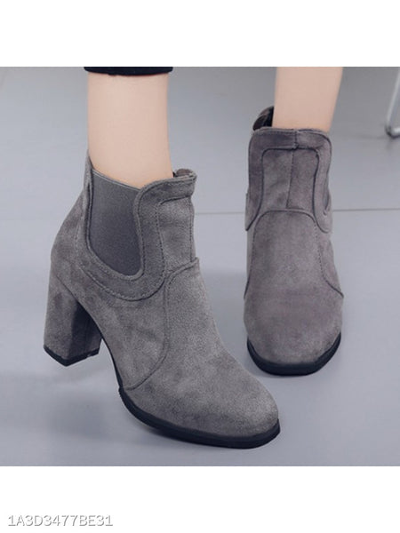 Plain Chunky High Heeled Velvet Round Toe Date Outdoor High Heels Boots