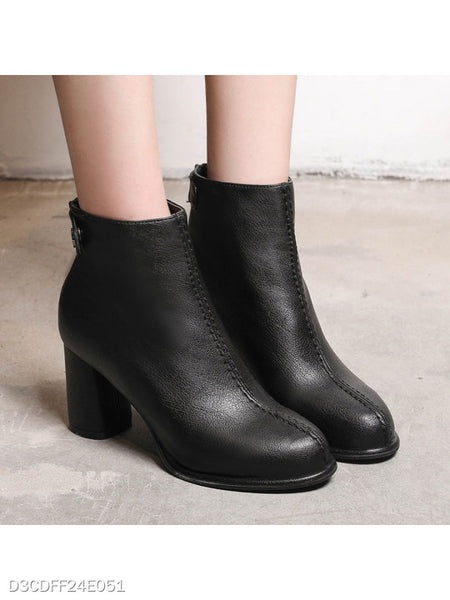 Plain Chunky High Heeled Round Toe Date Outdoor High Heels Boots