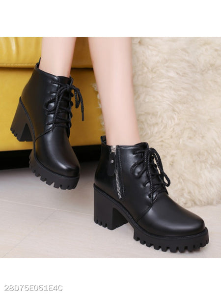 Plain Chunky High Heeled Round Toe Casual Date High Heels Boots