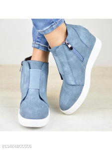 Plain Invisible High Heeled Velvet Round Toe Casual Sport Boots