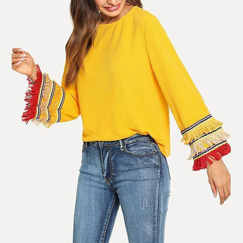 Fashion Tassel Long Bell Sleeve Blouses