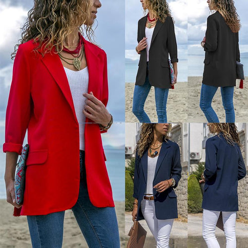 Fashion Lapel Long Sleeve Pocket Blazer