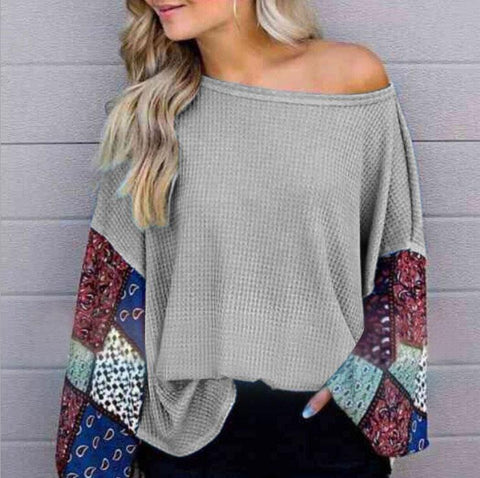 Leisure Loose Color Long-Sleeved Sweater