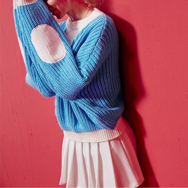 Fashion Color Blocking Long Sleeve Sweater
