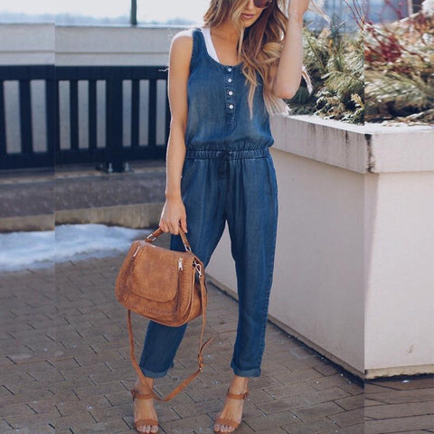 Women Patchwork Casual Sexy Vest Denim Jumpsuit