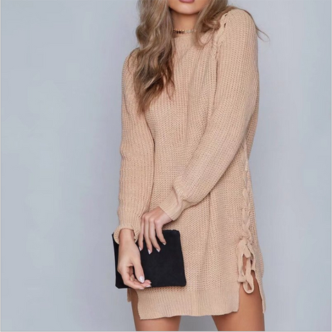 Mid-Length Side Knitted Sweater