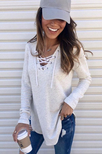 V Neck  Lace Up  Plain T-Shirts
