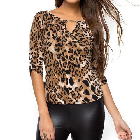V Neck Hollow Out Lace Up Leopard Printed Long Sleeve T-Shirts