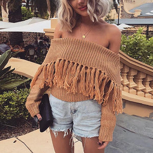 Boat Neck Off-Shoulder Sweater Decorated With Tassels