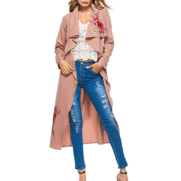 Long Embroidered Collar Lace Trench Coat