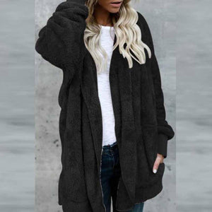 Hooded Slit Pocket Plain Outerwear