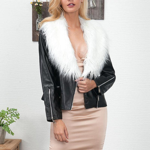 Fashion Fur Collar Long Sleeve Zipper Button PU Jackets