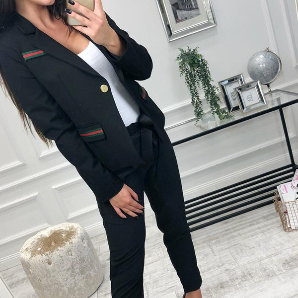 Lapel Long Sleeve Button Fashion Blazers