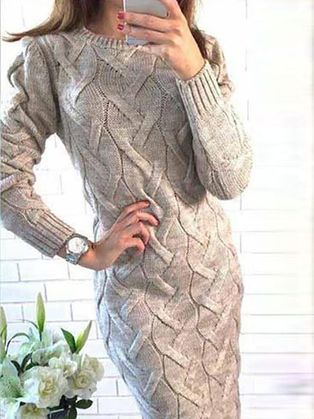 Fashion Round Collar Long Sleeve Knit Bodycon Dress