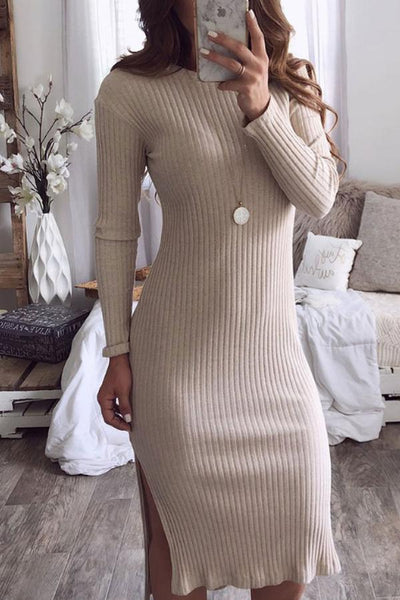 Round Neck  Slit  Plain  Long Sleeve Bodycon Dresses