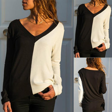V Neck Color Block Long Sleeve Elegant T-Shirts