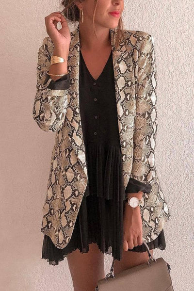 Fold Over Collar Animal Printed Blazers