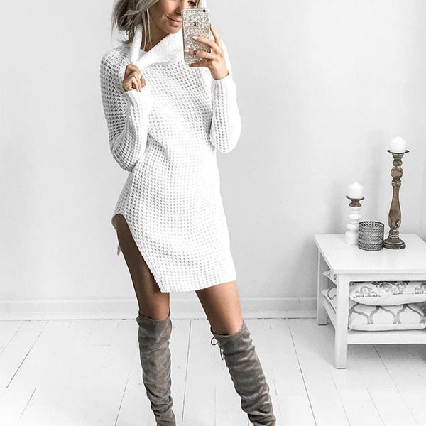 Sexy High Neck  Long Sleeve Casual Knitting Dress